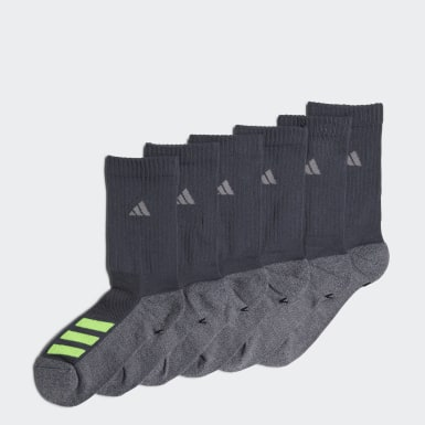 Children Training Grey Cushioned Angle Stripe Crew Socks 6 Pairs