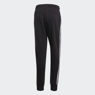 Men Athletics Black Essentials 3-Stripes Tapered Cuffed Pants