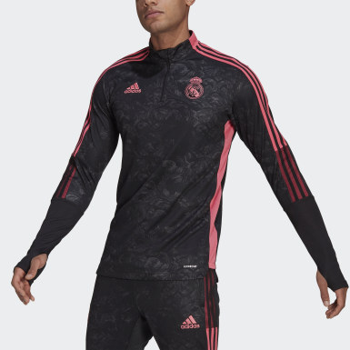 Men's Soccer Black Real Madrid Graphic Track Top