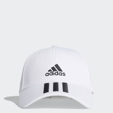 Tennis Baseball 3-Streifen Twill Kappe Weiß