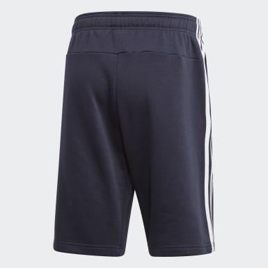 Men Essentials Blue Essentials 3-Stripes Fleece Shorts