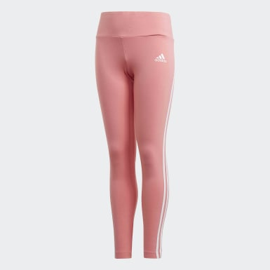 Youth 8-16 Years Training Pink 3-Stripes Cotton Leggings