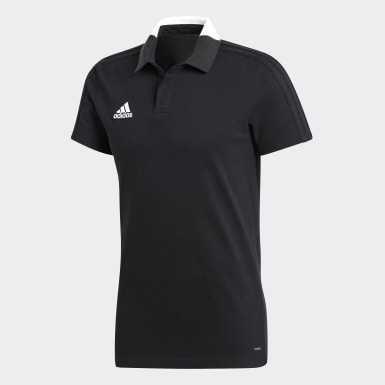 Men Football Black Condivo 18 Cotton Polo Shirt