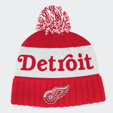 Men Hockey Multicolor Red Wings Cuffed Knit Pom Hat