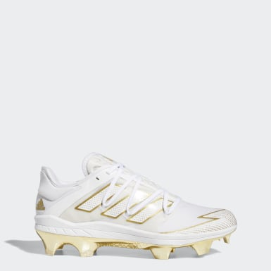 Men's Baseball White Adizero Afterburner 7 Gold TPU Cleats