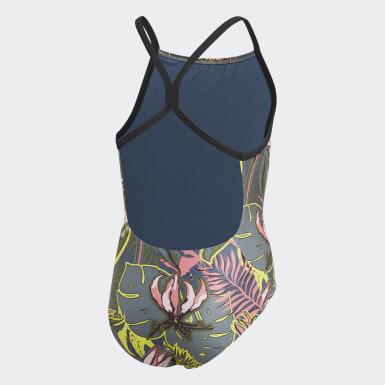 Meisjes Zwemmen Blauw Flower Badpak