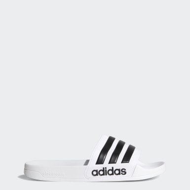 Men Essentials White Adilette Cloudfoam Slides