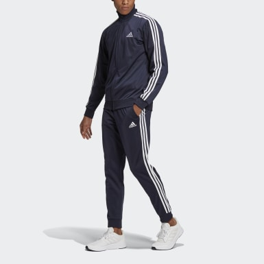 Mænd Athletics Blå Primegreen Essentials 3-Stripes træningssæt