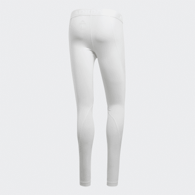 Men Cycling White Alphaskin Sport Long Tights