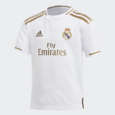 Miniconjunto Uniforme Local Real Madrid (UNISEX) Blanco Niño Fútbol