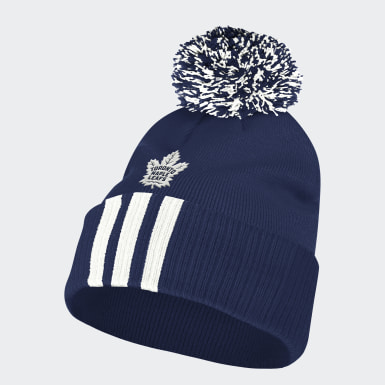 Men Training Multicolor Maple Leafs Cuffed Knit Pom Beanie