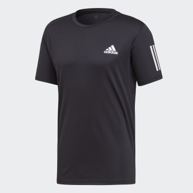 Men Padel Tennis Black 3-Stripes Club Tee