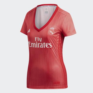 Terceira Camisola do Real Madrid Vermelho Mulher Futebol