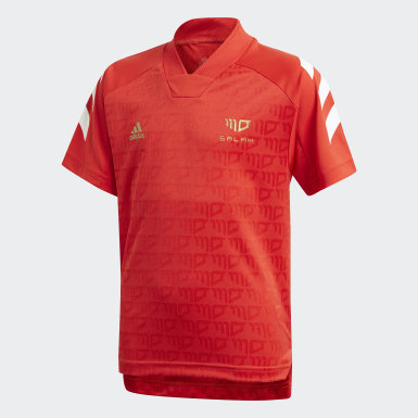 Boys Training Red Salah Football-Inspired Jersey