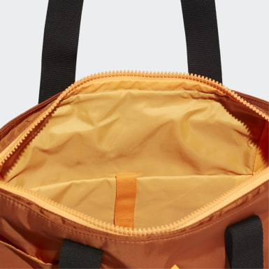 Women Yoga Orange ID Tote Bag