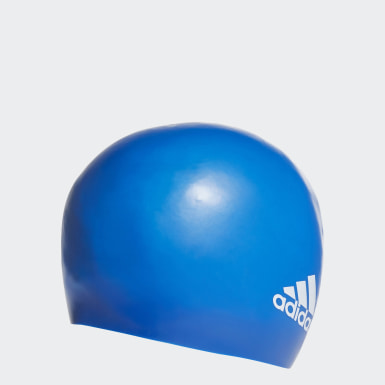 Swimming Blue Silicone Logo Swim Cap