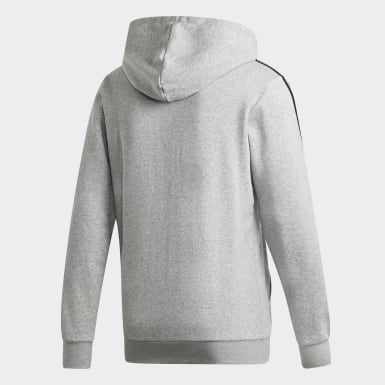 Men's Essentials Grey Essentials 3-Stripes Fleece Hoodie