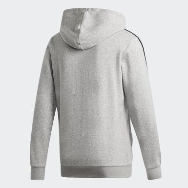 Men's Essentials Grey Essentials 3-Stripes Fleece Hoodie