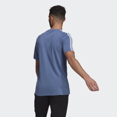 Men Athletics Blue Essentials 3-Stripes T-Shirt