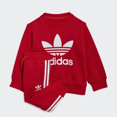 Completo Crew Sweatshirt Rosso Bambini Originals