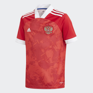 Youth 8-16 Years Football Red Russia Home Jersey