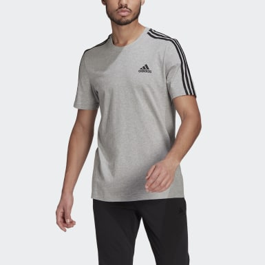 Men Sport Inspired Grey Essentials 3-Stripes Tee