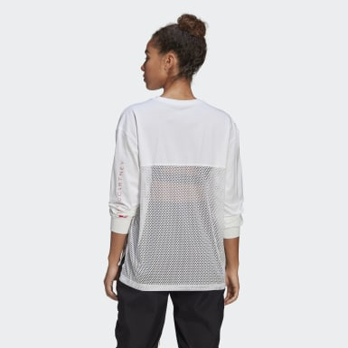 Women adidas by Stella McCartney White adidas by Stella McCartney Mesh Long-Sleeve Top