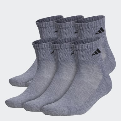 Men's Training Grey Athletic Quarter Socks 6 Pairs