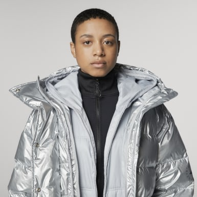 Frauen adidas by Stella McCartney Mid Length Puffer Jacke Silber