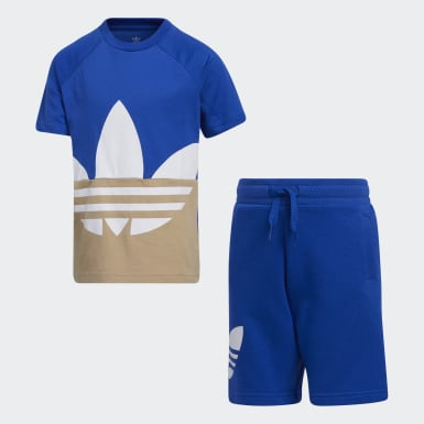 Kids Originals Blue Large Trefoil Tee Set