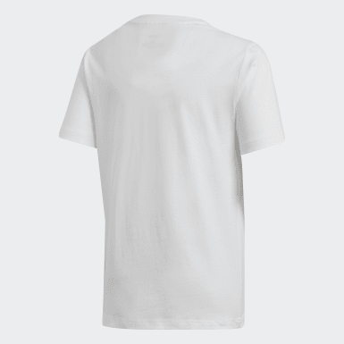 Boys Yoga White Essentials Linear Logo Tee