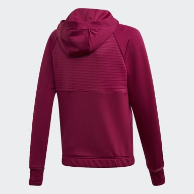 Girls Træning Burgundy COLD.RDY Full-Zip hættetrøje
