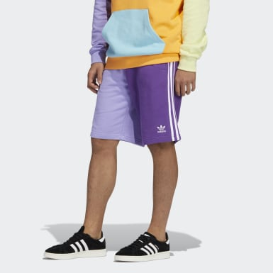 Blocked 3-Stripes Sweat Shorts Fioletowy