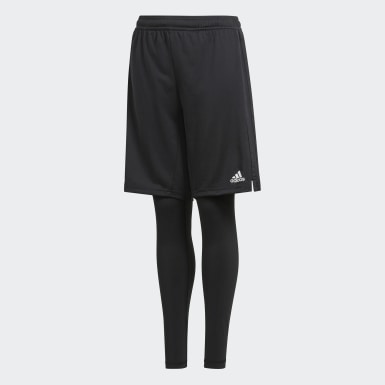 Kids Football Black Condivo 18 Two-in-One Shorts