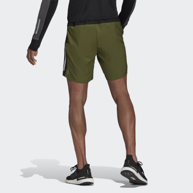 Men Running Green Own The Run 3-Stripes Shorts