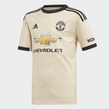 Jongens Voetbal Beige Manchester United Uitshirt