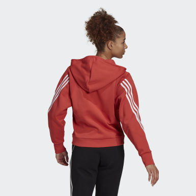 Veste à capuche adidas Sportswear Wrapped 3-Stripes Full-Zip Rouge Femmes Athletics