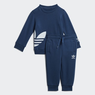 Kids Originals Blue Big Trefoil Crew Set