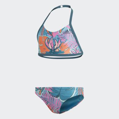 Meisjes Zwemmen Turquoise Flower Bikini