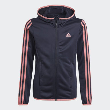 Mädchen Athletics adidas Designed To Move 3-Stripes Kapuzenjacke Blau