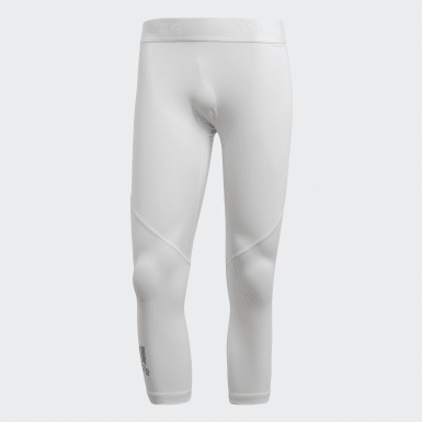 Men Yoga White Alphaskin Sport 3/4 Tights