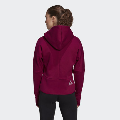 Women Athletics Burgundy adidas Z.N.E. Hoodie