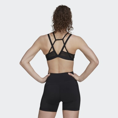 Frauen Yoga All me Badge of Sport Mesh Sport-BH Schwarz
