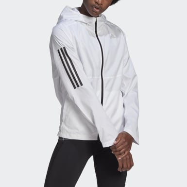 Women Running White Own the Run Hooded Wind Jacket