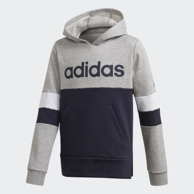 Youth 8-16 Years Athletics Grey Linear Colorblock Hooded Fleece Sweatshirt