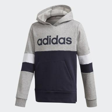 Sudadera Linear Colorblock Hooded Fleece Gris Niño Athletics