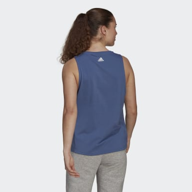 Women Sport Inspired Blue adidas Essentials Stacked Logo Tank Top