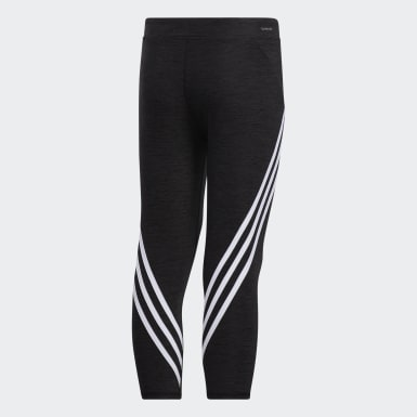 Youth Training Black Core Stripe 7/8 Tights