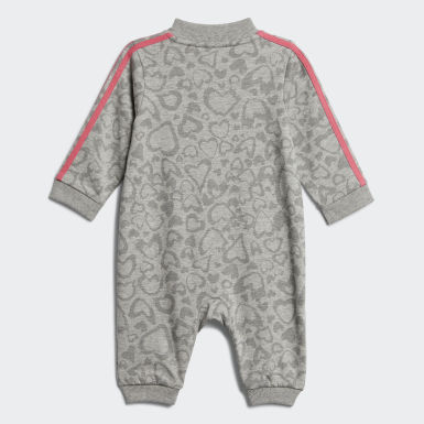 Infant & Toddler Training Grey Leopard Print French Terry Coveralls