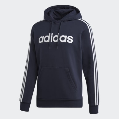 Men's Essentials Blue Essentials 3-Stripes Pullover Hoodie